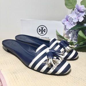 🆕Tory Burch Tassel Mules Slides Sandals Striped